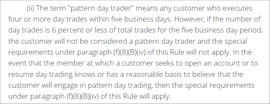 PDT definition from Finra Rule 4210