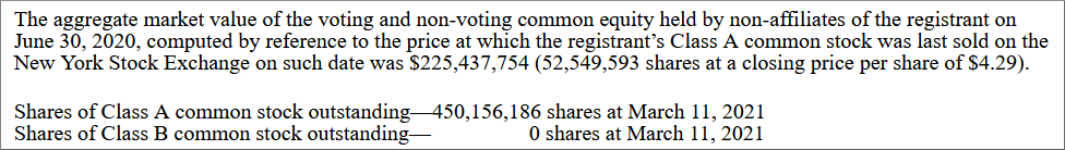 AMC shares, excerpt from 10-K Annual Report, filed March 12, 2021